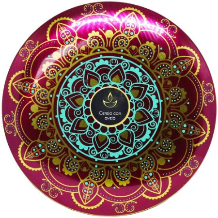 Vela perfumada Luz da Vida Cereja e avelã mandala roxa 300 g