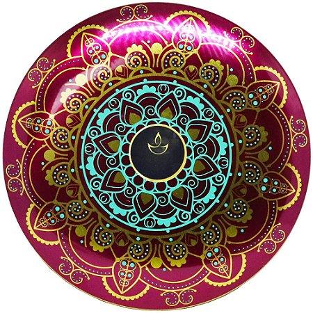 Vela perfumada Luz da Vida canela roxa com mandala 300 g