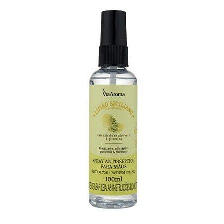 Spray antisséptico para as mãos Via Aroma limão siciliano 100 ml
