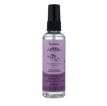 Spray antisséptico para as mãos Via Aroma lavanda 100 ml