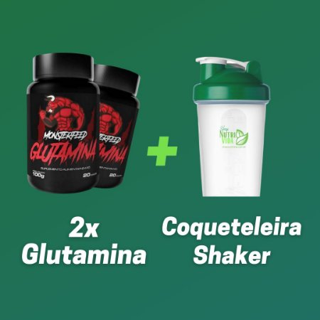 2 Glutaminas 100g + Coqueteleira Shaker