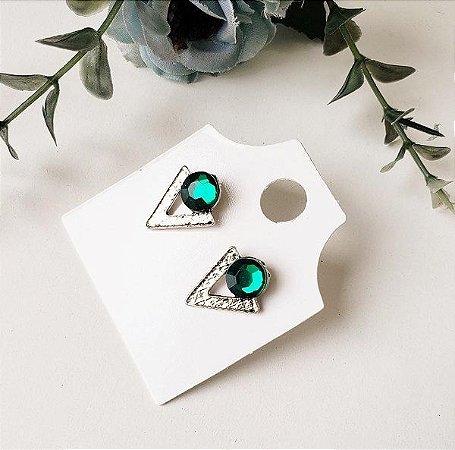 Brinco Triangulo Pedra Verde Prata