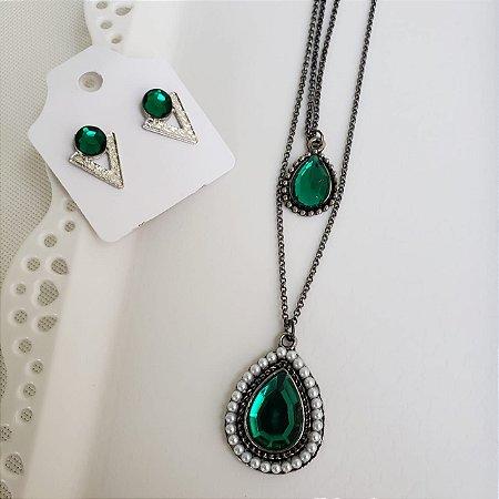 Brinco e Colar duplo Prata Velho pedra Verde Esmeralda