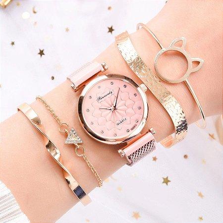 Kit Relógio Feminino Quartz Strass Fivela Magnética + 4 Pulseiras Luxo Cores variadas