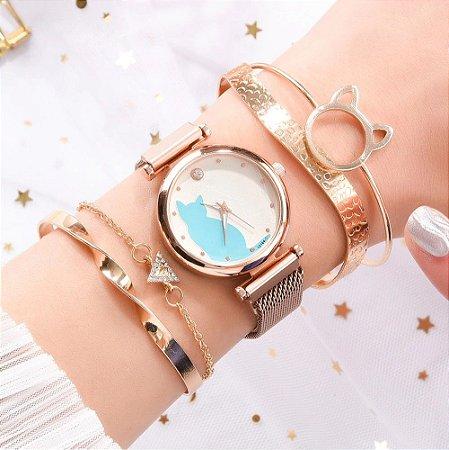 Kit Relógio Feminino Quartz Gato Fivela Magnética + 4 Pulseiras Luxo Cores variadas
