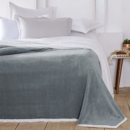Manta-Cobertor 1,80 x 2,20 m Casal Denver Sherpa Cinza Corttex