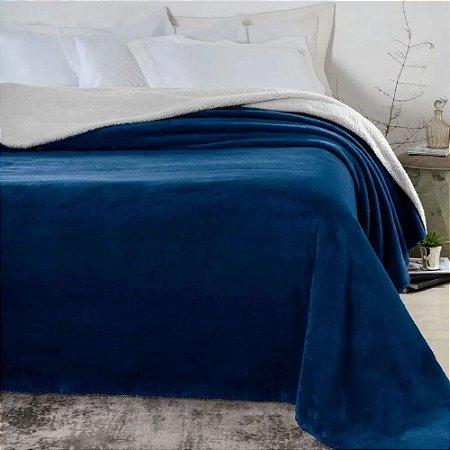 Cobertor 1,80 x 2,20 m Casal Denver Sherpa Marinho Corttex