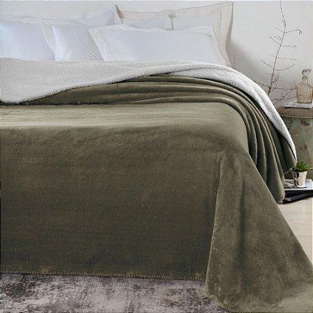 Manta-Cobertor 1,80 x 2,20 m Casal Denver Sherpa Marrom Corttex