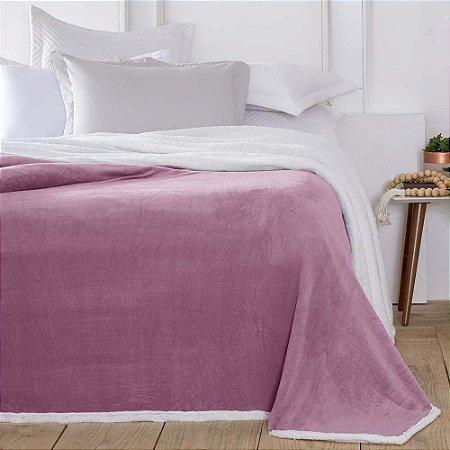 Cobertor 1,80 x 2,20 m Casal Denver Sherpa Rosa Corttex