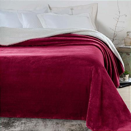 Cobertor 1,80 x 2,20 m Casal Denver Sherpa Vermelho Corttex
