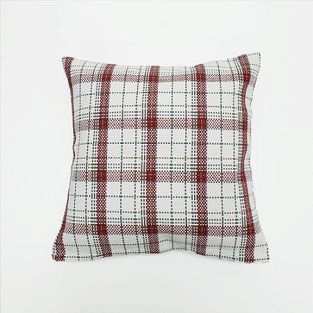 Capa para Almofada 100% Algodão 40 x 40 cm Vermelho e Branco Xadrez Bellestar