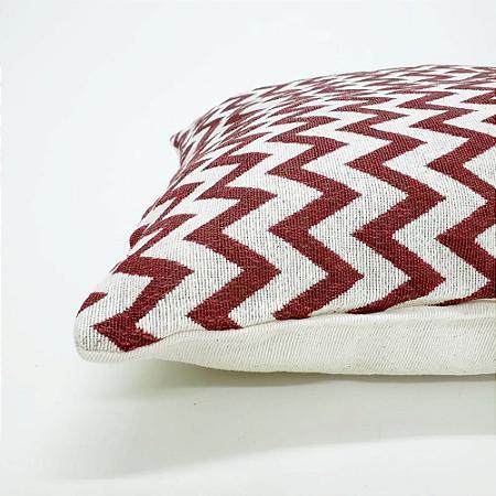 Capa para Almofada 43 x 43 cm Zig-zag Vermelho Jacquard Tecidos
