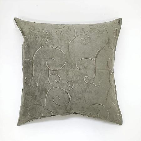 Capa para Almofada 60 x 60cm Bordado Tecido Suede Verde Bellestar