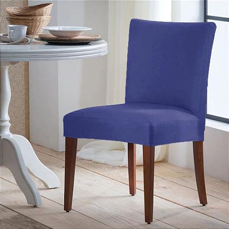 Capa para Cadeira Universal 100% Poliéster Azul Arte Cazza