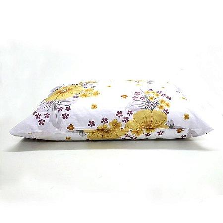 Fronha Avulsa 50 x 70 cm 100% Algodão Flores Amarelo yesican