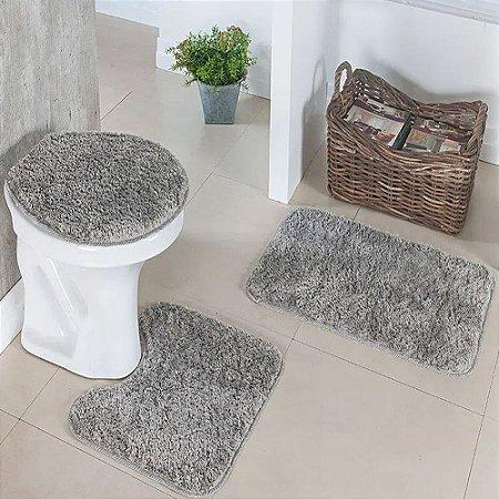 Jogo de banheiro 3 peças cinza Prata Têxtil
