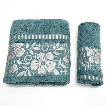 Jogo de Toalhas Banho e Rosto 2 Peças Floral Verde Caviquioli