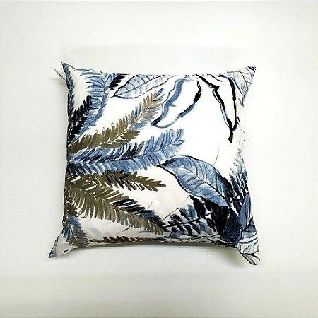 Kit Almofada Com Enchimento 45 x 45 cm Folhas Azul Bellestar