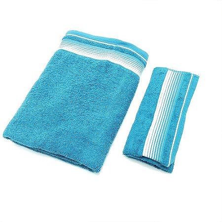 Kit de Toalhas 2 Peças Quasar Rosto e Banho Gigante Azul Lm Peter