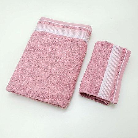Kit de Toalhas 2 Peças Quasar Rosto e Banho Gigante Rosa Lm Peter