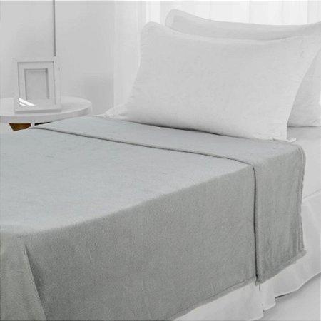 Manta Microfibra 1,50 x 2,00 Solteiro Fleece Cinza Andreza
