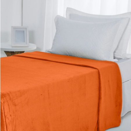 Manta Microfibra 1,50 x 2,00 Solteiro Fleece Laranja Andreza