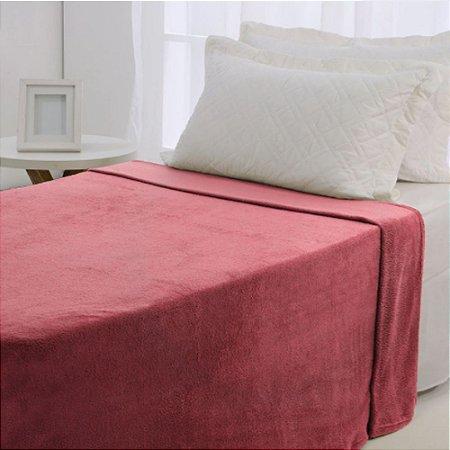 Manta Microfibra 1,50 x 2,00 Solteiro Fleece Rosa Andreza