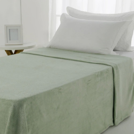 Manta Microfibra 1,50 x 2,00 Solteiro Fleece Verde Andreza
