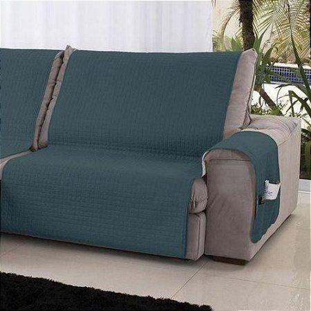 Xale Protetor de Sofá 2 Módulos Dupla Face Assento de 1,60 m Verde Esmeralda / Palha Lavive