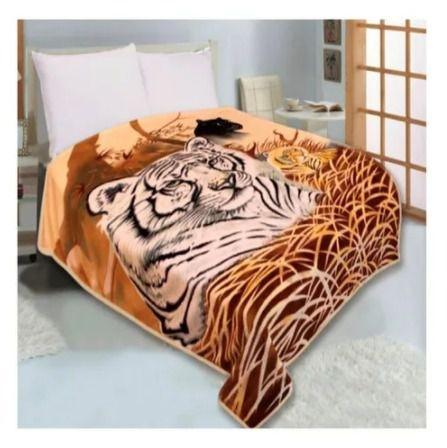 Cobertor Duplo Super Sofit Solteiro Tigre Realce Top Cmom Viés