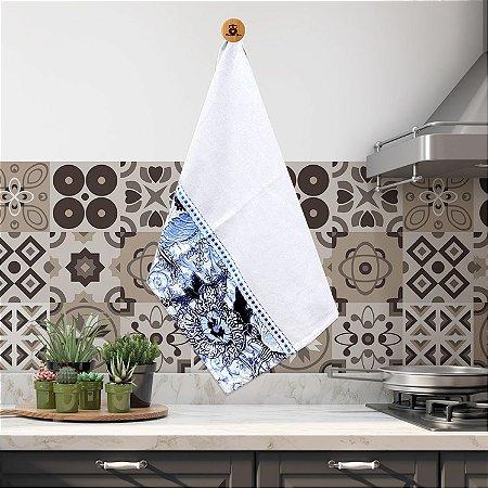 Pano de Prato 45 x 75 cm 100% Algodão  Flores com Azul