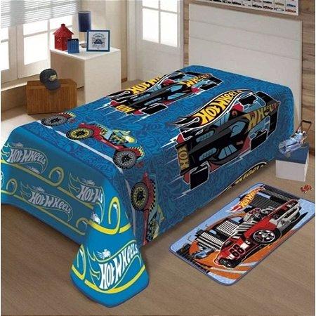 Manta de Microfibra Soft Hotwheels Solteiro Jolitex ( Azul )