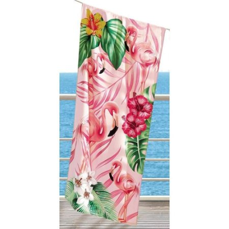 Toalha De Banho E Praia Dohler 0,76x1,52m Flamingos Aveludada