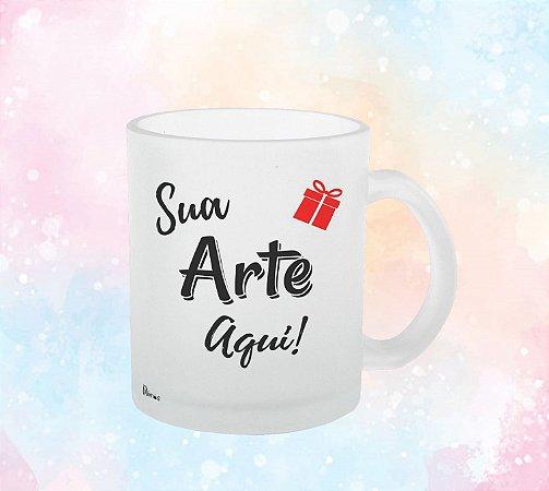 Caneca De Vidro Jateada 300 ML Com Sua Arte
