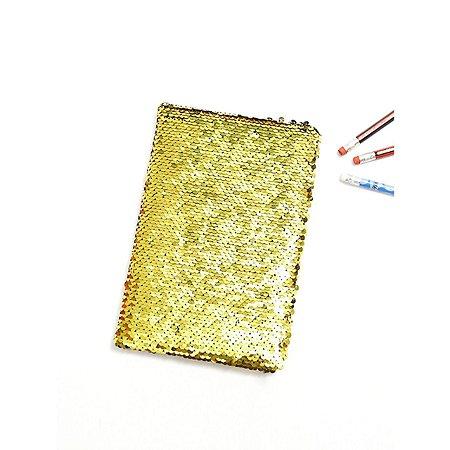 Agenda com lantejoula Dourado com Branco