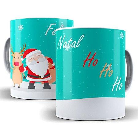Caneca Feliz Natal Ho Ho Ho 325 Ml De Porcelana
