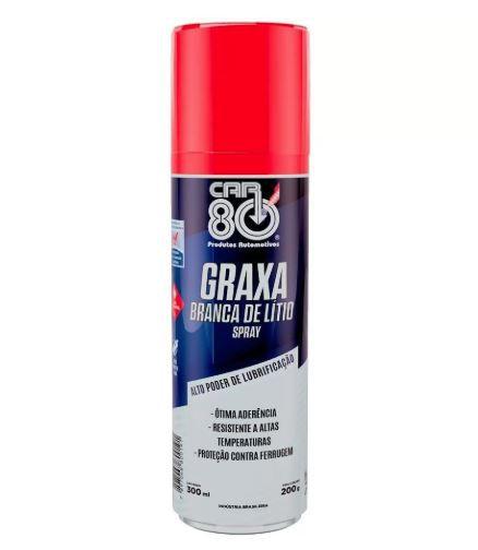 Graxa Branca de Lítio Spray Car80 300ml - Car80 Graxa