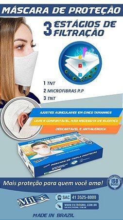 Mascara Descartavel Tripla Camada de Protecao - 50 Unidades - 1010355