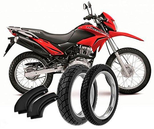 Kit Pneu Moto Honda Nxr125/150/160 Bross Diant/tras + Camara Ar