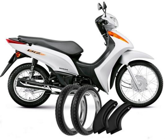 Kit Pneu Moto Honda Biz100/110/125/pop100/110 + Camara Ar