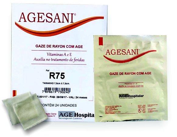 AGESANI - GAZE DE RAYON COM AGE 7,5cm X 15cm - ESTÉRIL. cx c/ 24 unid.
