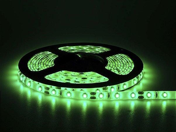 Fita LED 3528 Verde em rolo adesivo com 5 metros 12V Flexível IP65 Siliconada