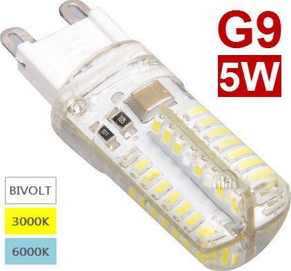 Lâmpada Led Halopin G9 5W para Lustres Branco Quente 3000K ou Branco Frio 6000K