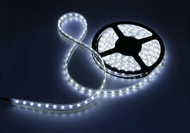 Fita LED 3528 Branco Frio 6500K rolo com 5 metros Siliconada 12V