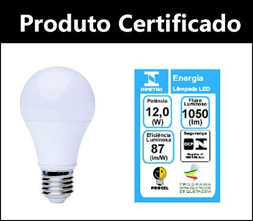 Lâmpada LED Bulbo 12w  A60 E27 Bivolt 6500K Branco Frio Inmetro