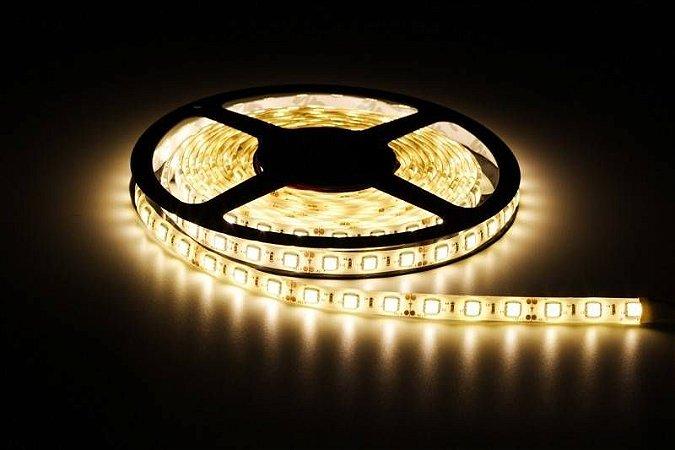 Fita LED 5050 Branco Quente 3000K rolo com 5 metros Siliconada 12V
