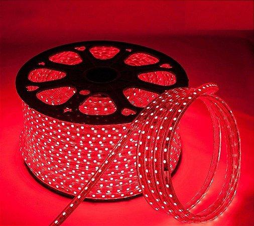 Mangueira chata fita led 5050 vermelho 220v ip66 1 metro