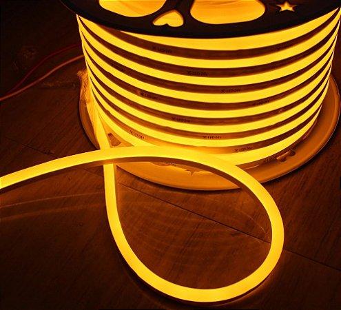 Mangueira led neon flex ambar 220v ip66 rolo 50m
