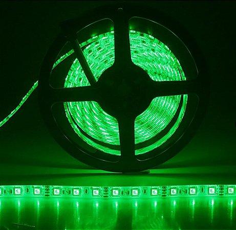 Fita LED Verde 5050 5 mts com fita adesiva 12V - Siliconada Flexível