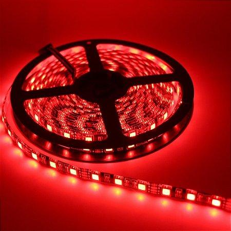 Fita LED Vermelha 5050 5 mts com fita adesiva 12V - Siliconada Flexível